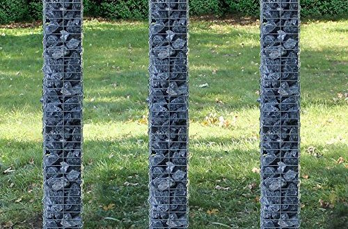 pro tec saeulen gabionen 3er set grundriss viereckig 25cm 3x 200 cm hoch steingabionen spalier 500x330 - [pro.tec] Säulen - Gabionen 3er-Set (Grundriss viereckig - 25cm) (3X 200 cm hoch) Steingabionen/Spalier /